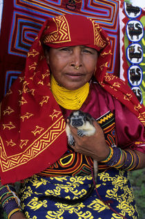 Kuna Indian Woman with Pet Marmoset (Monkey) by Wolfgang Kaehler