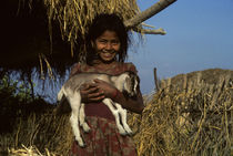 Girl Carrying a Young Goat von Wolfgang Kaehler