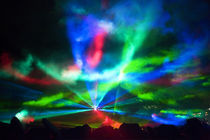 Laser Show Aurora Fantasy at Night by Wolfgang Kaehler