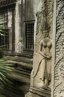 Bas-Relief Carving of a Smiling Apsara by Wolfgang Kaehler