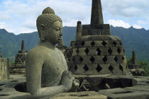 Upper Terrace with Bell Stupas &Amp; Buddha Statues by Wolfgang Kaehler