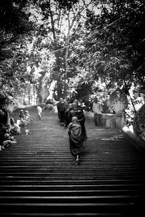 Monks climbing stairs by VLadimir Kapustin