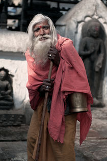 Old man in Swayambhunath temple by rubix