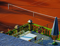 Red Tennis Court by Dejan Knezevic