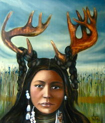 Native deer woman art print by claudia tremblay