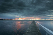 Jetty and sunset over Tuggerah Lake by Mark Lucock