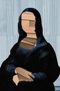 Mona Lisa 1 blue shining WoodCut Collage by Marko Köppe