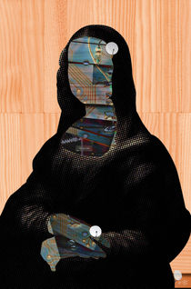 Mona Lisa 1 dark-digitalHead WoodCut Collage von Marko Köppe
