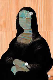 Mona Lisa digitalHead1 WoodCut Collage