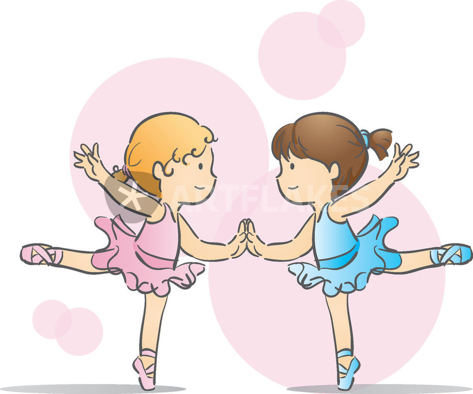 """""""Two Little Ballerinas"""" Drawing Art Prints And Posters By"""