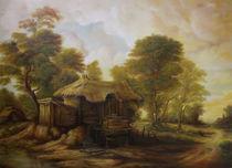 Dan Scurtu - Landscape at Sunset with Old Hut from Transylvania von Dan Scurtu