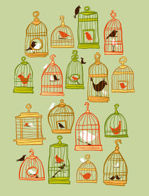 Bird Cages on Green