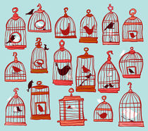 Bird Cages on Blue