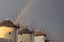 Wind mill with rainbow by Danita Delimont