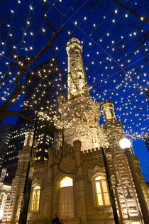 Old Water Tower with holiday lights von Danita Delimont