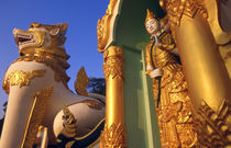 Rangoon (Yangon) Temple guardian to the entrance of the Shwedagon Pagoda in Rangoon by Danita Delimont