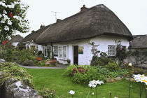 Thatched-roof cottage surrounded by garden von Danita Delimont