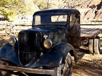 Scenic Historic Gifford Ranch at Fruita Mormon Settlement with antique Ford Truck by Danita Delimont