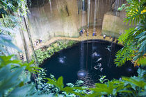 Sacred Blue Cenote (water well in sink hole) at Ik Kil eco-Archeological Park (Place of the Winds) in Piste by Danita Delimont