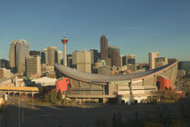 Calgary: City Skyline from Ramsay Area / Morning with Saddledome by Danita Delimont