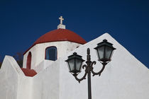 Chapel with red dome and streetlight in the interior of the island by Danita Delimont