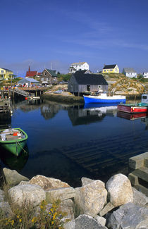 Beautiful village of Peggy's Cove with harbor and fishing sheds in Nova Scotia Canada by Danita Delimont
