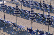 Blue beach chairs by Danita Delimont