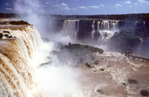 The Iguassu falls from above with mist rising by Danita Delimont