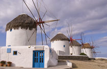 The windmills of Mykonos on the Greek Islands near Greece by Danita Delimont