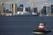 Downtown city skyline and tugboat on Burrard Inlet by Danita Delimont
