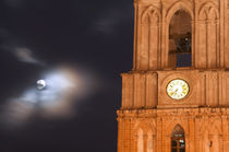 Evening sky with moon and church clock von Danita Delimont