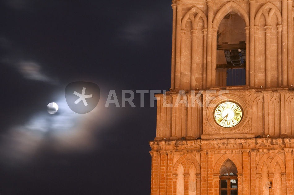 quotevening sky with moon and church clockquot bild als poster