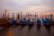 Anchored gondolas at twilight by Danita Delimont