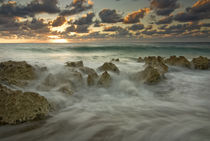 Crashing waves at sunset on the shore near George Town by Danita Delimont