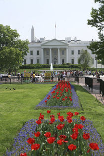 The North side of the White House with tourists looking through the fence on Pennsylvania Avenue by Danita Delimont