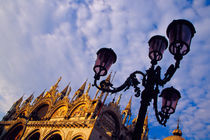 Byzantine Basilica and lamppost in San Marco Square by Danita Delimont