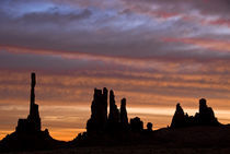 Sunrise creates silhouettes of totem pole-like rock formations by Danita Delimont
