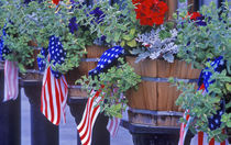 Flags and Flowers in Philipsburg Montana by Danita Delimont