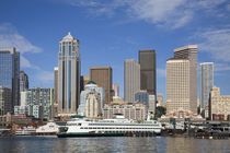 Seattle skyline with ferry boat from Elliott Bay by Danita Delimont