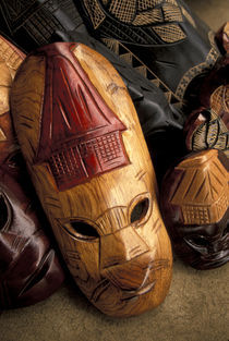 Viti Levu Masks at a town market von Danita Delimont