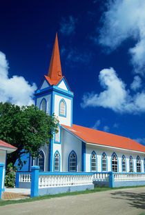 Colorful church on the island of Tahaa in the Society Islands of French Polynesia von Danita Delimont