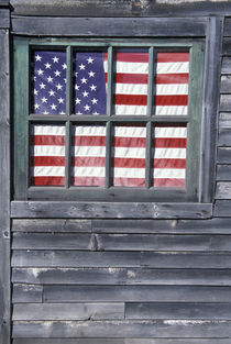 Flag of the United States in window of abandoned store von Danita Delimont