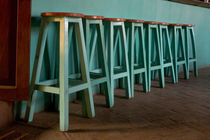 Green Bar Stools line wall inside Roof Top Cafe near the Iglesia de Santo Domingo and the city's historic Zocalo von Danita Delimont