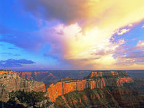 View from North Rim of clearing storm over the canyon by Danita Delimont