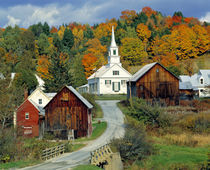 Fall foliage adds further beauty to the small village of Waits River in Vermont by Danita Delimont