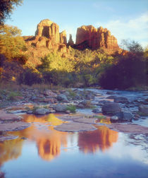 Cathedral Rock reflecting on Oak Creek by Danita Delimont
