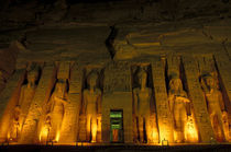 Lighted facade of Small Temple of Hathor for Queen Nefertari by Danita Delimont