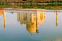 World famous Taj Mahal temple reflection at sunset from Yamuna River in town of Agra India von Danita Delimont