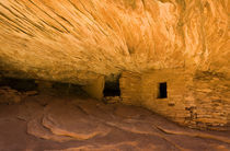 Sandstone House of Fire ceiling layers in ancient Anasazi Indian ruins mimic flames by Danita Delimont