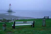 Sandy Point lighthouse on a foggy morning von Danita Delimont